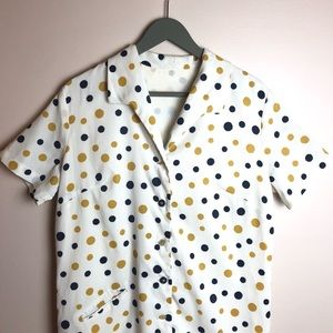 Vintage Polkadot Shirtdress 60's Mod